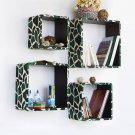 TRI-WS024-SQU [Green Giraffe] Square Leather Wall Shelf / Bookshelf / Floating Shelf (Set of 4)