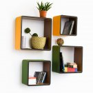 TRI-WS027-SQU [Lovely Rural] Square Leather Wall Shelf / Bookshelf / Floating Shelf (Set of 4)