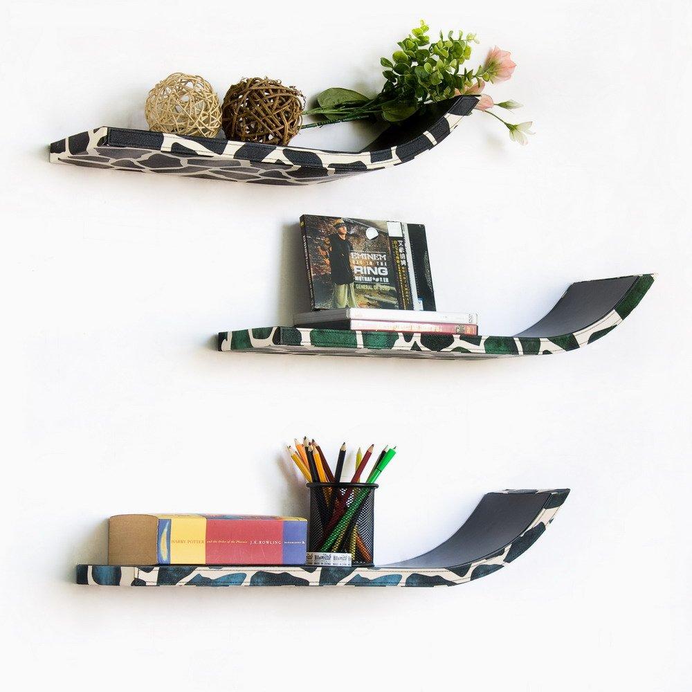 TRI-WS102-SAM [Fashion Snakeskin] Stylish J Type Leather Wall Shelf / Bookshelf / Floating Shelf