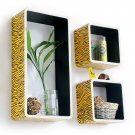 TRI-WS133-REC [Yellow Zebra Stripe] Rectangle Leather Wall Shelf / Bookshelf / Floating Shelf (Set o