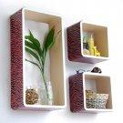 TRI-WS134-REC [Pink Zebra Stripe] Rectangle Leather Wall Shelf / Bookshelf / Floating Shelf (Set of