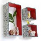 TRI-WS135-REC [Classic Zebra Stripe] Rectangle Leather Wall Shelf / Bookshelf / Floating Shelf (Set