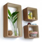 TRI-WS141-REC [Tropical Wood] Rectangle Leather Wall Shelf / Bookshelf / Floating Shelf (Set of 3)