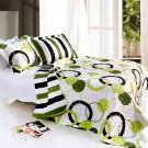 ONITIVA-QTS01005-23[Artistic Green] Cotton 3PC  Circle Printed Quilt Set (Full/Queen Size)
