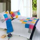 ONITIVA-QTS01009-23[Pure Heaven] Cotton 3PC  Patchwork Quilt Set (Full/Queen Size)