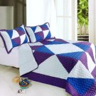 ONITIVA-QTS01011-23[Dios solar] Cotton 3PC  Patchwork Quilt Set (Full/Queen Size)