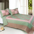 ONITIVA-QTS01014-23[Bliss] Cotton 3PC  Patchwork Quilt Set (Full/Queen Size)