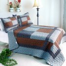 ONITIVA-QTS01016-23[Wild Swan] Cotton 3PC  Patchwork Quilt Set (Full/Queen Size)
