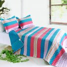ONITIVA-QTS01019-23[Colorful Sky] Cotton 3PC  Striped Quilt Set (Full/Queen Size)