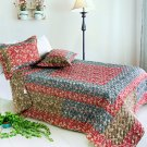 ONITIVA-QTS01025-23[Reminiscence] Cotton 3PC  Patchwork Quilt Set (Full/Queen Size)