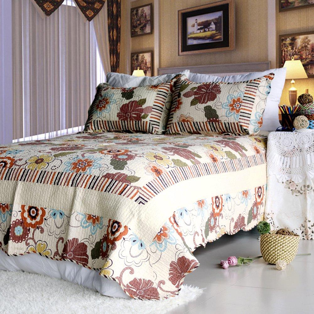 QTS-HS701-23[Shaine] 100% Cotton 3PC Floral Vermicelli-Quilted Patchwork Quilt Set (Full/Queen Size)
