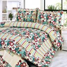 QTS-SJ807-23[Dianthe] 100% Cotton 3PC Floral Vermicelli-Quilted Patchwork Quilt Set (Full/Queen Size