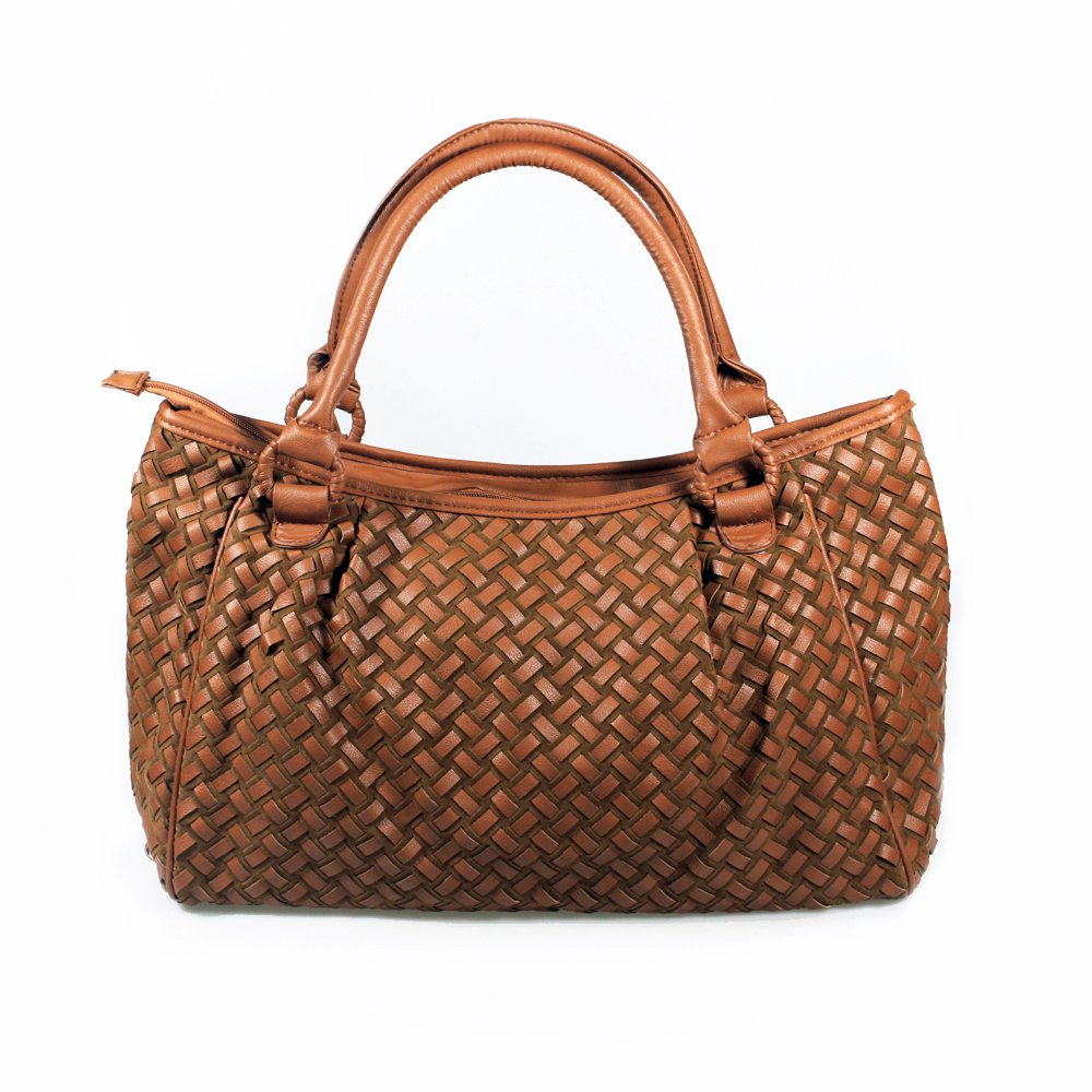 FB-SM9050-TAN[Beauty Daisy] Tan Double Handle Leatherette Fashion Satchel Bag Handbag Purse