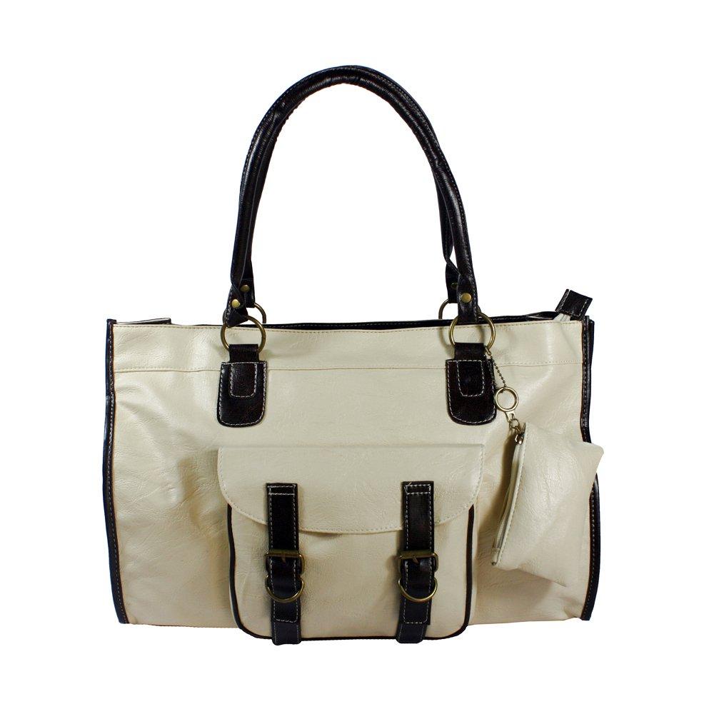 FB-SM940-1-WHITE[Doris Favorite] Offwhite Double Handle Front Pocket Leatherette Satchel Bag Handbag