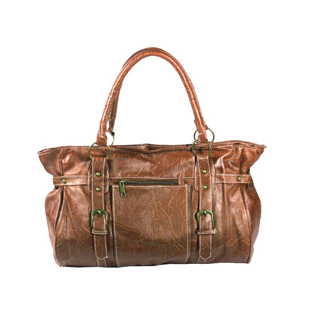 FB-WS139-BROWN[Dignity Sue] Brown Double Handle Leatherette Satchel Bag Handbag Purse