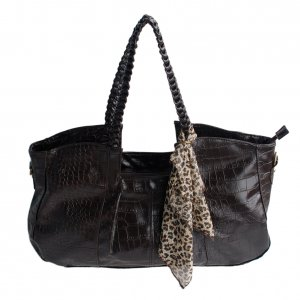 FB-XXK177-COFFEE[Charm Beauty] Coffee Leatherette Double Handle Handbag Shoulder Bag Satchel Bag w/A
