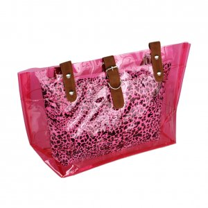 FB-ZL618-PINK[Lucky Pink] Leopard Double Handle Leatherette Satchel Bag Handbag Casual Styling