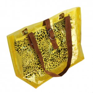 FB-ZL618-YELLOW[Lucky Yellow] Leopard Double Handle Leatherette Satchel Bag Handbag Casual Styling