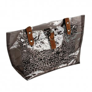 FB-ZL618-GRAY[Lucky Gray] Leopard Double Handle Leatherette Satchel Bag Handbag Casual Styling