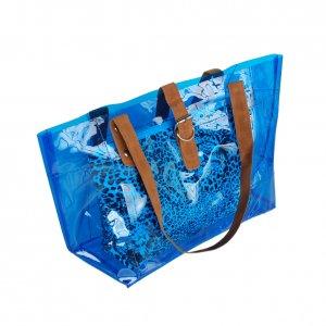 FB-ZL618-BLUE[Lucky Blue] Leopard Double Handle Leatherette Satchel Bag Handbag Casual Styling