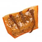 FB-ZL618-ORANGE[Lucky Orange] Leopard Double Handle Leatherette Satchel Bag Handbag Casual Styling