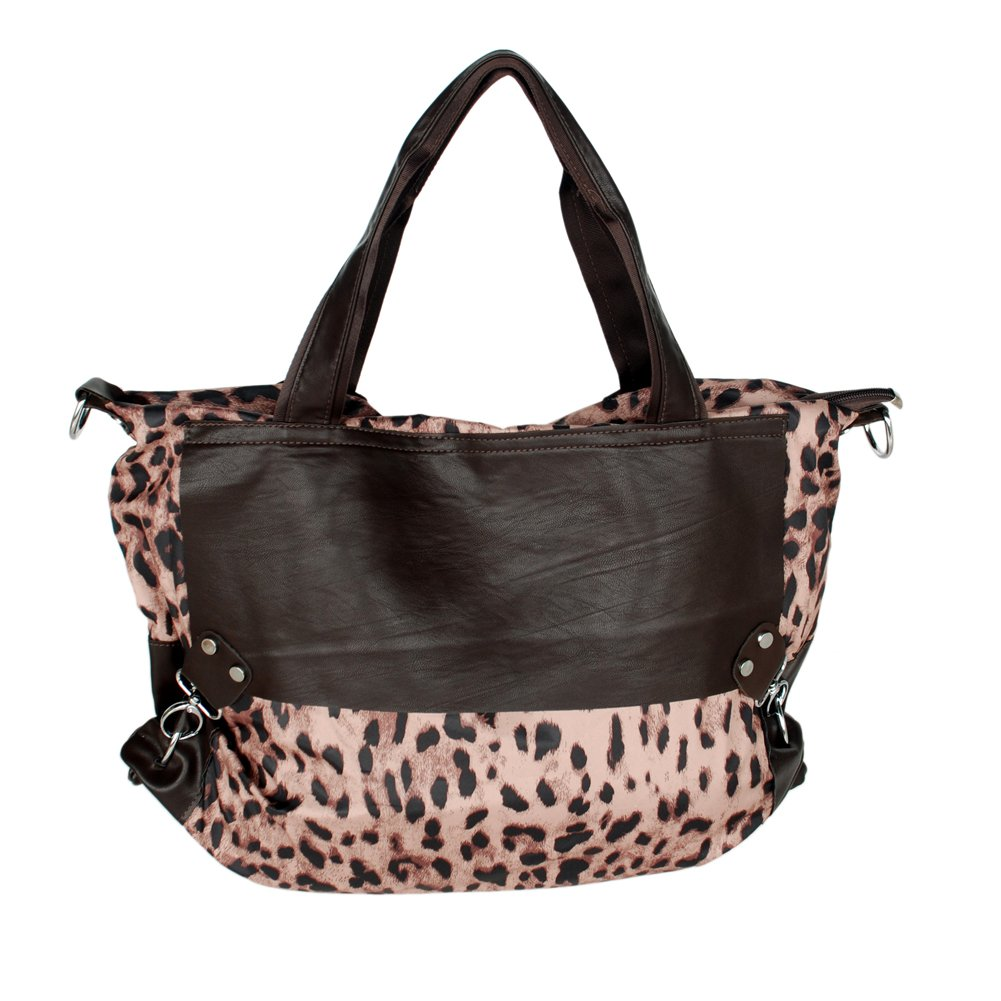 FB-DZ002-COFFEE[Casual Leopard Temptation] Coffee Double Handle Satchel Hobo Handbag w/Shoulder Stra