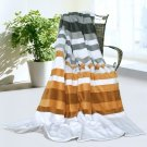 ONITIVA-BLK-020 [Stripes - City Elf] Soft Coral Fleece Patchwork Throw Blanket (59 by 78.7 inches)