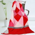 ONITIVA-BLK-030 [Plaids - Rose Elf] Soft Coral Fleece Patchwork Throw Blanket (59 by 78.7 inches)