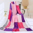 ONITIVA-BLK-039 [Lavender Love] Soft Coral Fleece Patchwork Throw Blanket (59 by 78.7 inches)