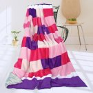 ONITIVA-BLK-049 [Purple Mood] Soft Coral Fleece Patchwork Throw Blanket (59 by 78.7 inches)