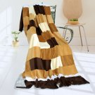 ONITIVA-BLK-050 [Brown & White] Soft Coral Fleece Patchwork Throw Blanket (59 by 78.7 inches)