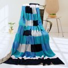 ONITIVA-BLK-051 [Blue & White] Soft Coral Fleece Patchwork Throw Blanket (59 by 78.7 inches)