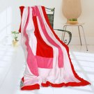 ONITIVA-BLK-053 [Rosy Clouds] Soft Coral Fleece Patchwork Throw Blanket (59 by 78.7 inches)