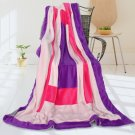 ONITIVA-BLK-057 [Violet Love] Soft Coral Fleece Patchwork Throw Blanket (59 by 78.7 inches)