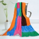 ONITIVA-BLK-062 [Colorful Patchwork] Soft Coral Fleece Patchwork Throw Blanket (59 by 78.7 inches)