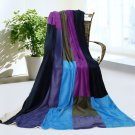 ONITIVA-BLK-065 [Good Life] Soft Coral Fleece Patchwork Throw Blanket (59 by 78.7 inches)