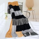 ONITIVA-BLK-072 [Sleepless Seattle] Soft Coral Fleece Patchwork Throw Blanket (59 by 78.7 inches)