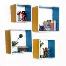 TRI-WS168-SQU [Beautiful Life] Square Leather Wall Shelf / Bookshelf / Floating Shelf (Set of 4)