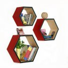 TRI-WS181-HEX [Romantic Charm] Hexagon Leather Wall Shelf / Bookshelf / Floating Shelf (Set of 3)