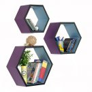 TRI-WS183-HEX [Kiss The Rain] Hexagon Leather Wall Shelf / Bookshelf / Floating Shelf (Set of 3)