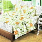 DDX01009-4 [Summer Leaf] 100% Cotton 4PC Comforter Cover/Duvet Cover Combo (King Size)