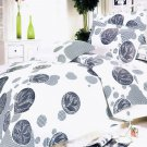 HM01001-2 [White Gray Marbles] 100% Cotton 4PC Comforter Cover/Duvet Cover Combo (Full Size)