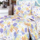 MF01002-4 [Purple Orange Flowers] 100% Cotton 4PC Comforter Cover/Duvet Cover Combo (King Size)