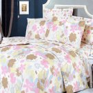 MF01003-4 [Pink Brown Flowers] 100% Cotton 4PC Comforter Cover/Duvet Cover Combo (King Size)