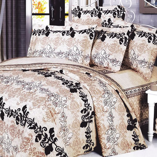MF01010-1 [Beige Brown Classic] 100% Cotton 3PC Comforter Cover/Duvet Cover Combo (Twin Size)