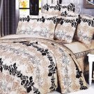 MF01010-2 [Beige Brown Classic] 100% Cotton 4PC Comforter Cover/Duvet Cover Combo (Full Size)