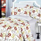 MF01018-2 [Apple Letter] 100% Cotton 4PC Comforter Cover/Duvet Cover Combo (Full Size)