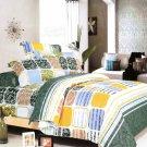 MF01038-3 [Green Blocks] 100% Cotton 4PC Comforter Cover/Duvet Cover Combo (Queen Size)
