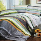 MF01068-2 [Tonal Stripe] 100% Cotton 4PC Comforter Cover/Duvet Cover Combo (Full Size)