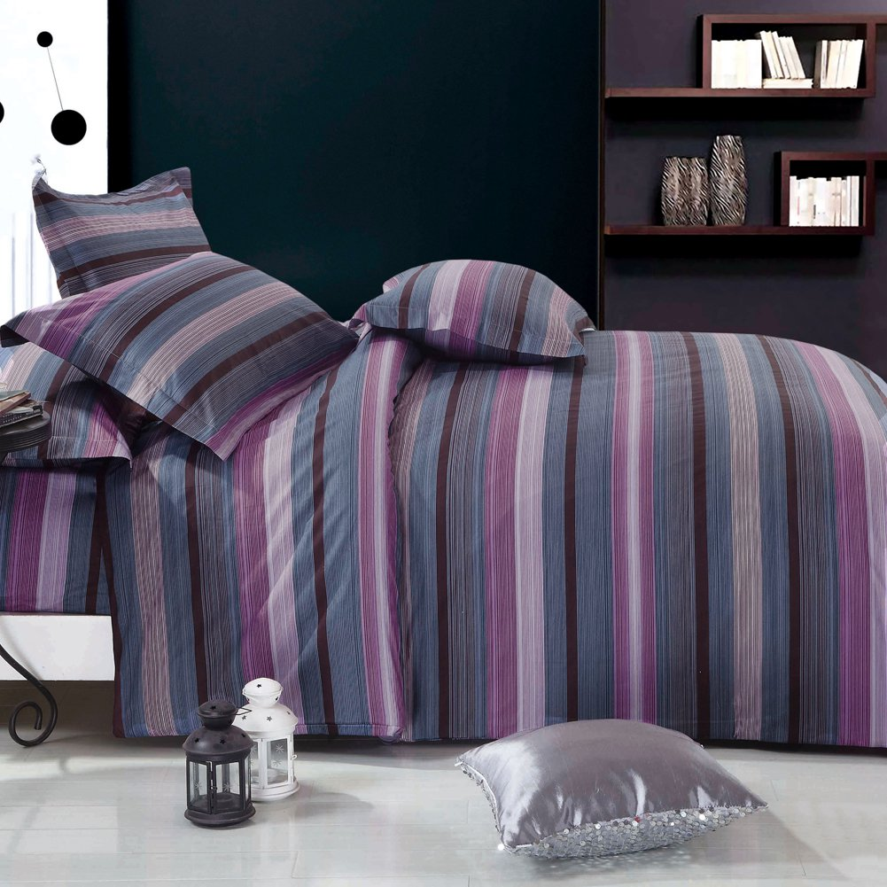 MF01072-3 [Vineyard Dream] 100% Cotton 4PC Comforter Cover/Duvet Cover Combo (Queen Size)